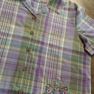 Koret Purple Stripe Large Shirt Sleeve Button